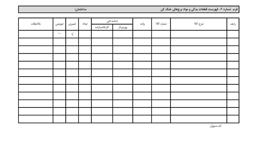 کارت فهرست قطعات یدکی و مواد برج های خنک کننده :