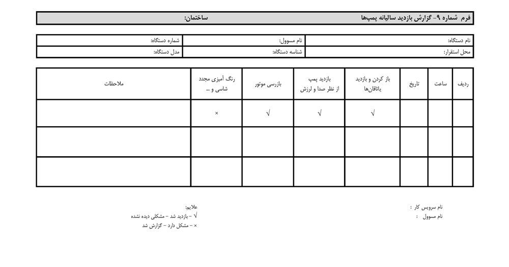 فرم گزارش بازدید ماهیانه پمپ ها :