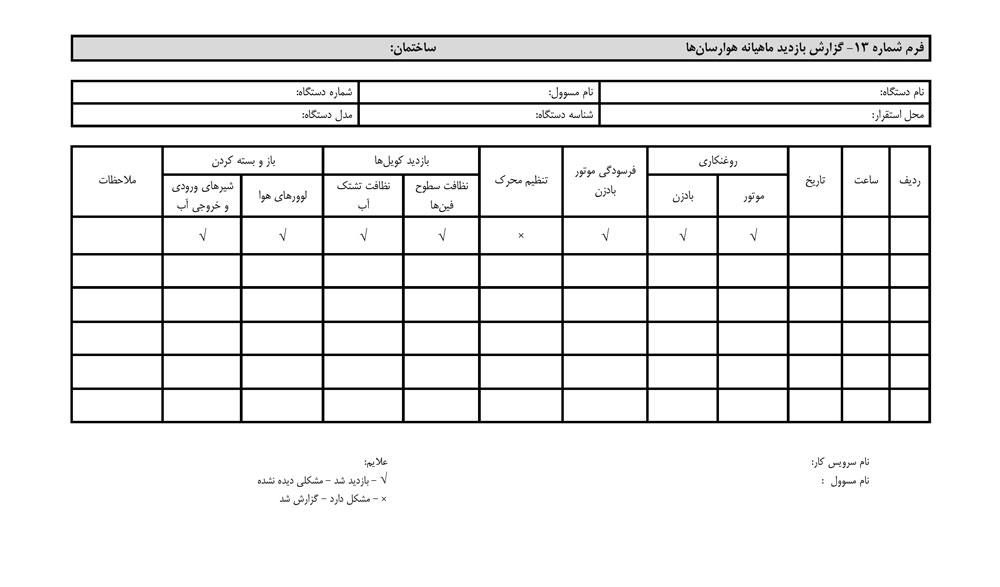 فرم گزارش بازدید ماهیانه هوارسان :